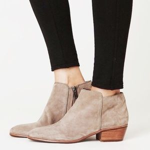 Sam Edelman Petty Suede Ankle Zip Up Booties Putty